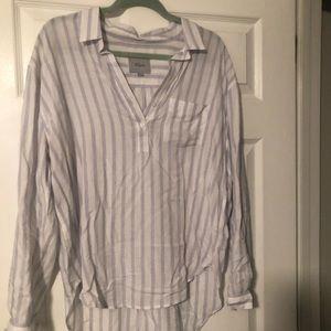 Rails half button striped blouse